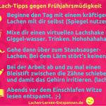 Grafik Kathrin Stamm: 5 Lach-Tipps gegen Frühjahrsmüdigkeit. Via canva.com